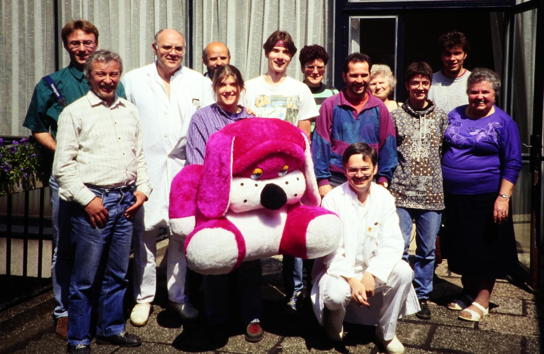 April 1995: Andreas Bodensteiner, Hans Karl, Stefanie Prätori, Matthias Huber, Rudi Siegert, Michaela Basler, Frank Eckstein (mit Stationen und Begegnungen in Zagreb und Orasje)